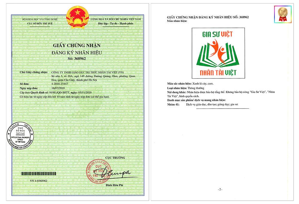 giấy chứng nhận thương hiệu của Gia Sư Việt