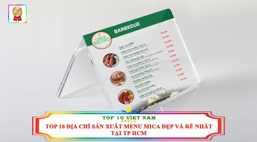 TOP 10 ĐỊA CHỈ SẢN XUẤT MENU MICA ĐẸP VÀ NHẤT TẠI TP HCM