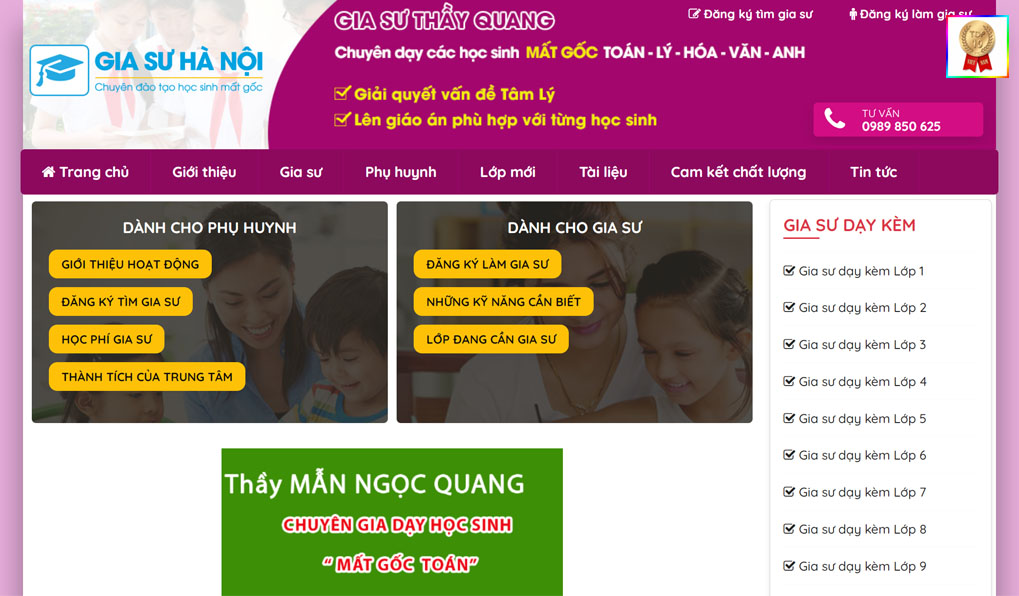 gia sư thầy Quang quận Hà Đông