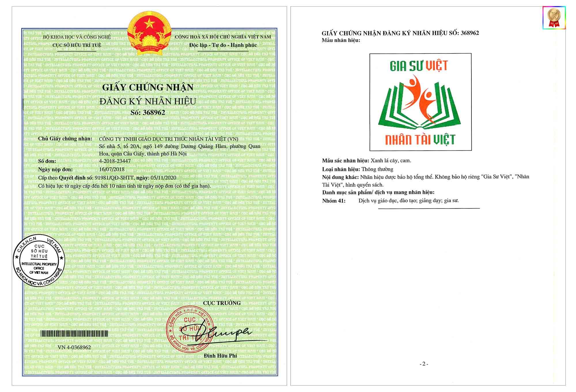 giấy chứng nhận thương hiệu của cục sở hữu trí tuệ