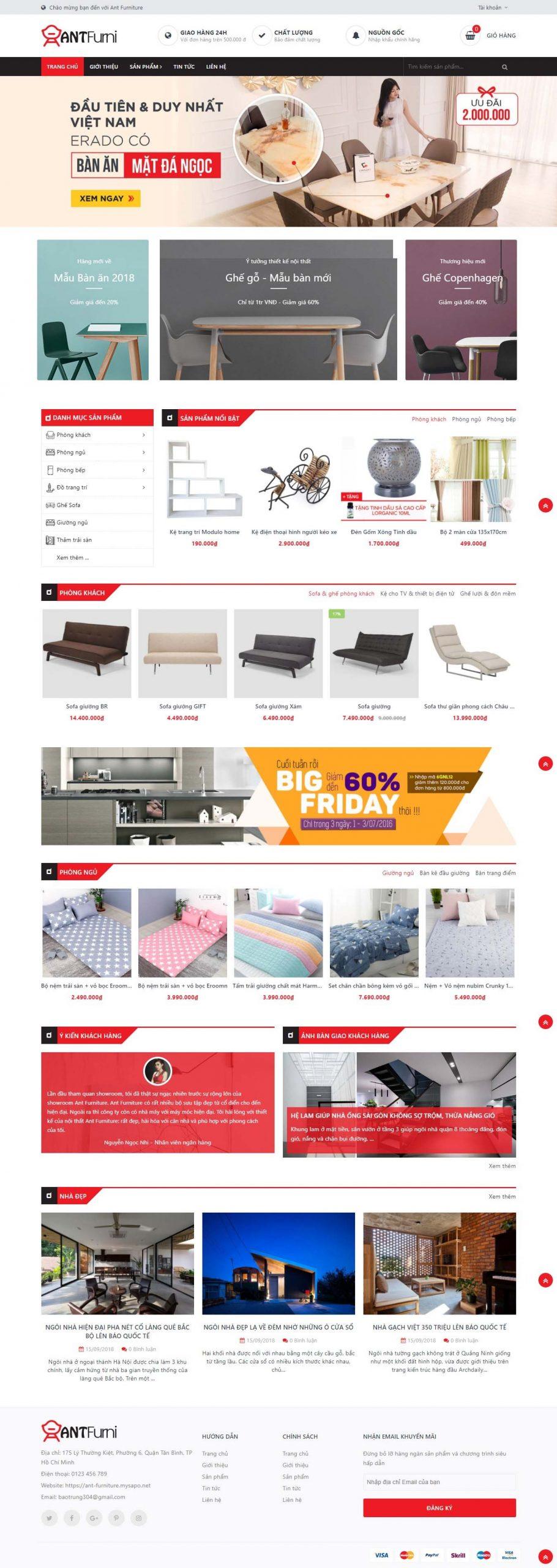 Mẫu giao diện website đồ gỗ nội thất