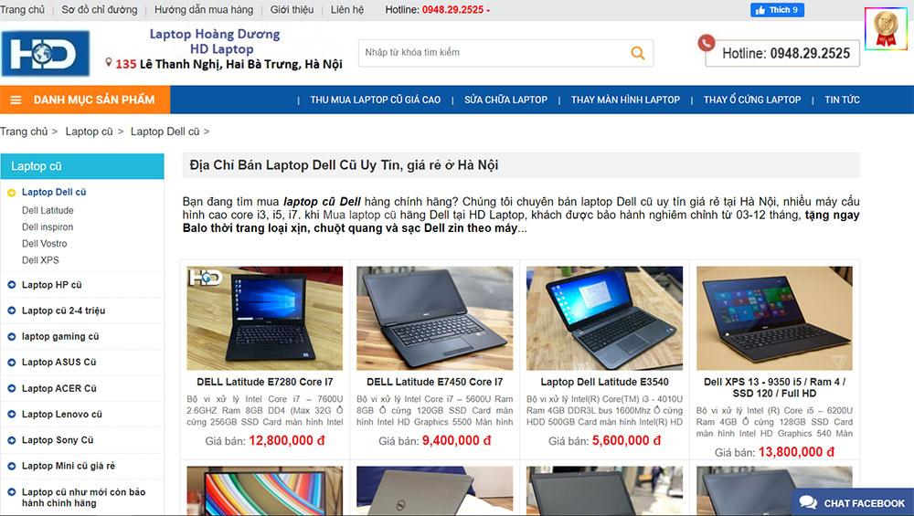sự đa dạng của laptop cũ